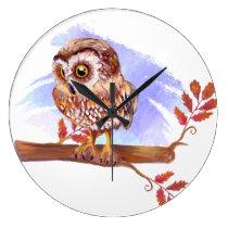 Owl on oak watercolor large clock