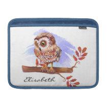 Owl on oak watercolor MacBook sleeve