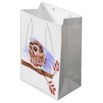 Owl on oak watercolor medium gift bag