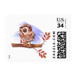 Owl on oak watercolor postage