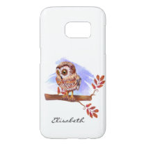 Owl on oak watercolor samsung galaxy s7 case