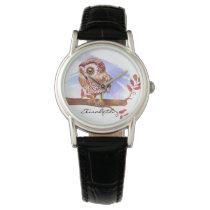 Owl on oak watercolor watch