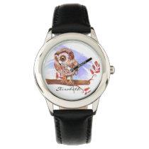 Owl on oak watercolor wrist watch