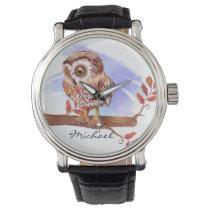 Owl on oak watercolor wristwatch