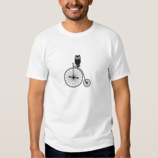 owl on old vintage bicycle t shirts