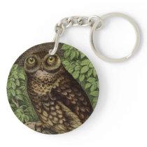 Owl on Perch Keychain
