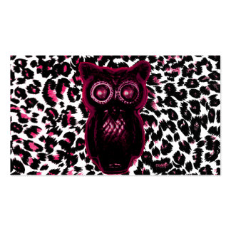 Owl on Pink Leopard Spots Background Business Card