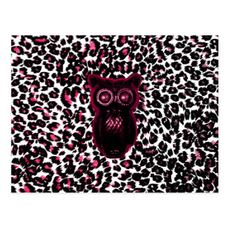 Owl on Pink Leopard Spots Background Postcard