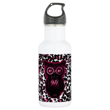 Halloween Themed Owl on Pink Leopard Spots Background Stainless Steel Water Bottle