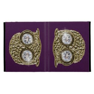 Owl on purple background iPad folio cover