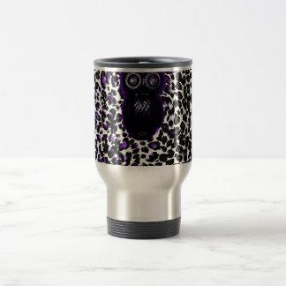 Owl On Purple Leopard Spots 15 Oz Stainless Steel Travel Mug