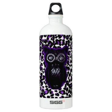 Halloween Themed Owl On Purple Leopard Spots Aluminum Water Bottle