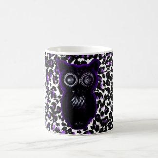 Owl On Purple Leopard Spots Coffee Mug