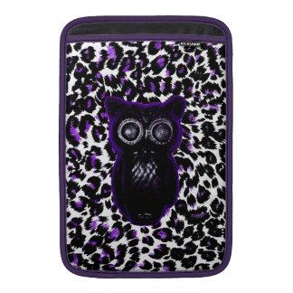 Owl On Purple Leopard Spots MacBook Air Sleeves