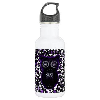 Owl On Purple Leopard Spots 18oz Water Bottle
