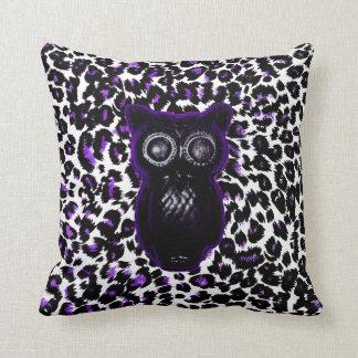 Owl On Purple Leopard Spots Pillows