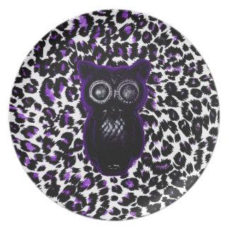 Owl On Purple Leopard Spots Plate