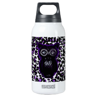 Owl On Purple Leopard Spots 10 Oz Insulated SIGG Thermos Water Bottle