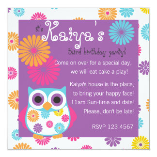 """Owl on the Bright Side 5.25"""" Square Invitation Card"""