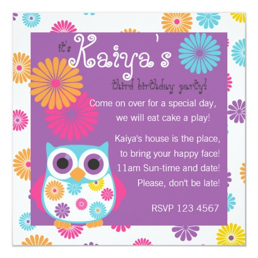 Owl on the Bright Side 5.25x5.25 Square Paper Invitation Card