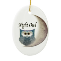 Owl on the Moon Art Ceramic Ornament