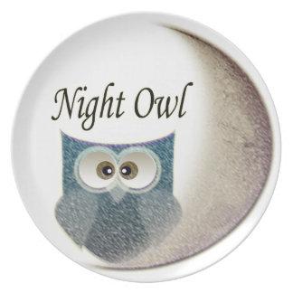 Owl on the Moon Art Melamine Plate