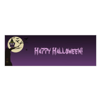 Owl on tree branch Halloween Birthday Party Banner Poster