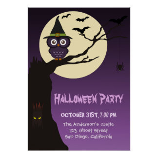 Owl on tree branch Halloween Birthday Party Poster