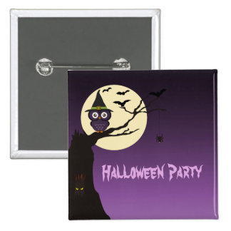 Owl on tree branch Halloween Party Button