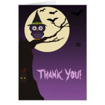 Owl on tree branch Halloween Thank You Card
