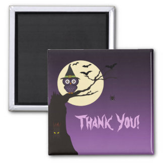 Owl on tree branch Halloween Thank You Magnet