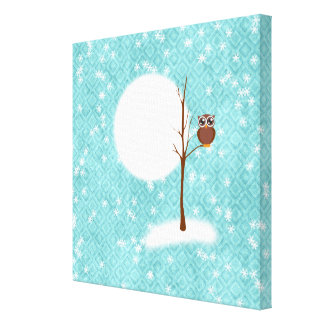 owl on tree in winter night canvas print