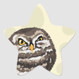 Owl on tree moon light stars vintage style star sticker