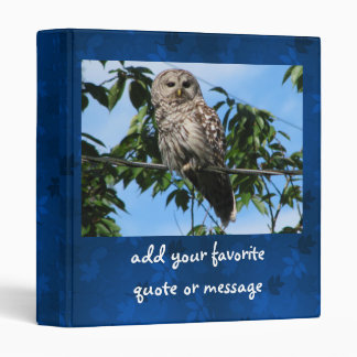 Owl On Wire 3 Ring Binder