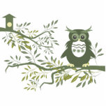 Owl ~ Owl Sitting On Tree Branch Acrylic Cut Outs