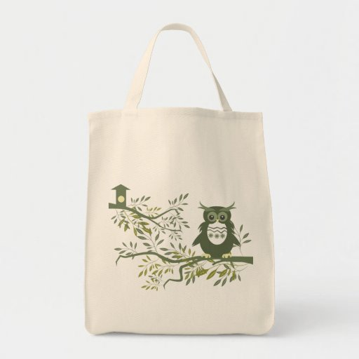 Owl ~ Owl Sitting On Tree Branch Bags