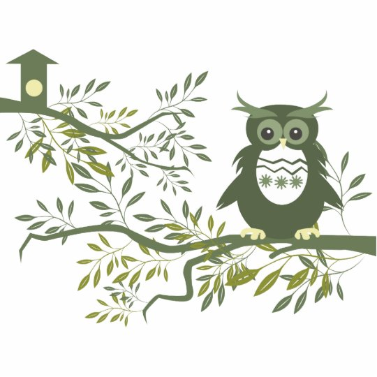 Owl ~ Owl Sitting On Tree Branch Cutout