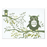 Owl ~ Owl Sitting On Tree Branch Personalized Invite