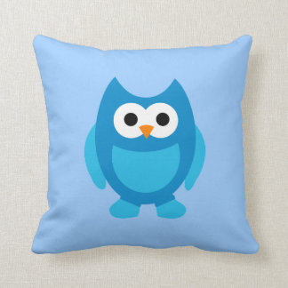 Owl Owls Bird Birds Blue Cute Cartoon Pillow