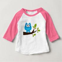 Owl Owls Bird Birds Blue Cute Tree Cartoon Animal Baby T-Shirt