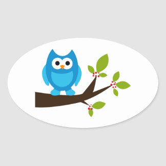 Owl Owls Bird Birds Blue Cute Tree Cartoon Animal Oval Sticker