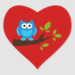 Owl Owls Bird Birds Blue Cute Tree Cartoon Animal Heart Sticker