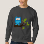 Owl Owls Bird Birds Blue Cute Tree Cartoon Animal Sweatshirt