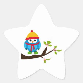 Owl Owls Bird Birds Blue Hat Scarf Snow Cute Tree Star Stickers