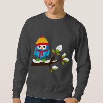 Owl Owls Bird Birds Blue Hat Scarf Snow Cute Tree Sweatshirt