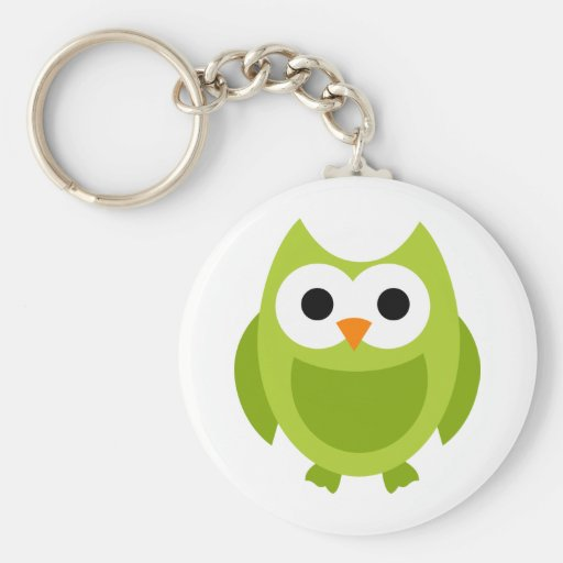 Owl Owls Bird Birds Green Cute Cartoon Animal Key Chain
