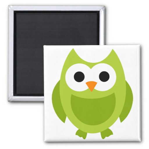 Owl Owls Bird Birds Green Cute Cartoon Animal Refrigerator Magnets