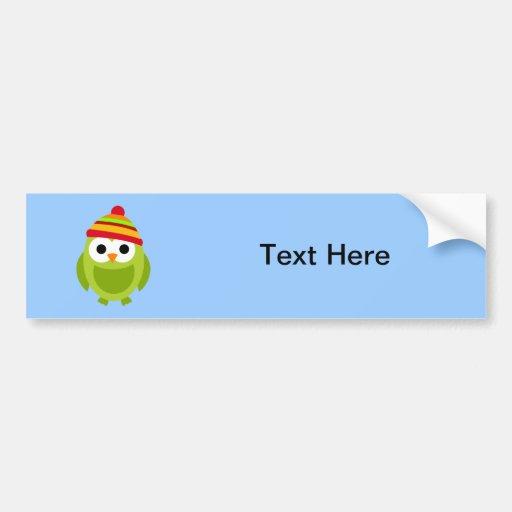 Owl Owls Bird Birds Green Winter Hat Cute Cartoon Bumper Sticker