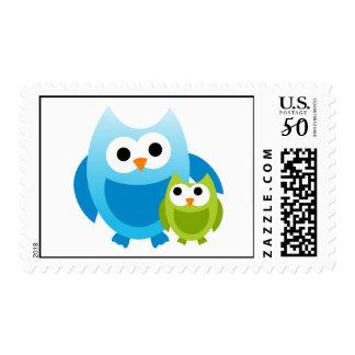Owl Owls Bird Birds Mom Baby Cute Cartoon Animal Postage