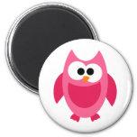 Owl Owls Bird Birds Pink Colorful Cute Cartoon 2 Inch Round Magnet